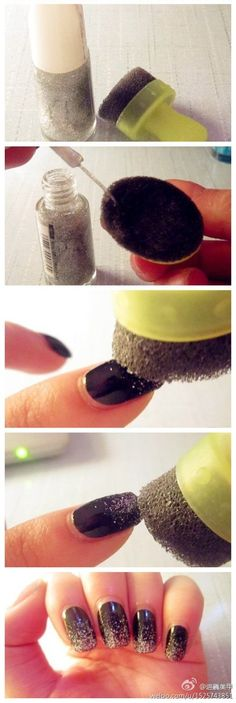 Get a gradient effect by dabbing glitter nail polish onto a porous sponge. 32 Easy Nail Art Hacks For The Perfect Manicure Love Nails, How To Do Nails, Pretty Nails, How To Paint Glitter Nails, Nail Art With Glitter, Glitter Nail Tips, How To Ombre Nails, How To Nail Art, Glitter Gradient Nails