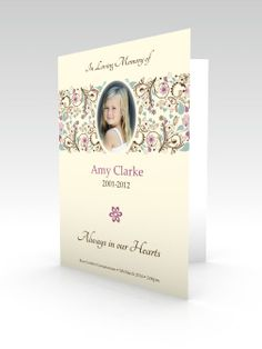 Funeral Stationery Order of Service Flower Design with Pink and ...
