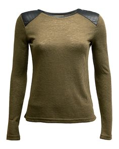 Army Top Black Leather Shoulders