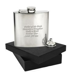 This 6oz stainless steel Hip Flask can be engraved with any message over 5 lines and up to 20 characters per line. Comes presented in it's own presentation box.  Steel is the material for an 11th Wedding Anniversary and this Hipflask would make the perfect gift!  The box measures 12.5cm x 16cm x 4cm