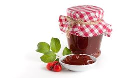 Photo about Homemade rose hip jelly in jar with fresh rose hip. Image of fabric, health, botany - 21695005 Rose Hip Jelly, Southern Potato Salad, Melted Snowman, Rose Candle, Chocolate Covered, Botany, Pumpkin, Pudding, Herbs