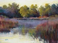 "Daily Paintworks - ""Pastel Demo: Florida Wetlands with Reflections"" - Original Fine Art for Sale - © Karen Margulis"