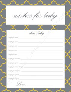 Guest book template free amommyslovecreations baby for Wishes for baby printable template