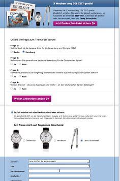 """Landingpage zum E-Mailing des Zeitverlages mit einer Umfrage zum aktuellen Thema """"Olympia-Bewerbung: Hamburg oder Berlin?"""", gekoppelt mit einem kostenlosen Probeangebot inklusive Zugabe #Fragebogen-Mailing, #Emailing, #Newsletter-Marketing, #Abowerbung, #Abomarketing, #Onlinemarketing, #Direktmarketing gefunden von Montana Medien, März 2015"""