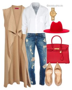 Untitled #3257 by stylebydnicole on Polyvore featuring polyvore fashion style Boohoo Frank & Eileen Sergio Rossi Hermès Versace Études clothing