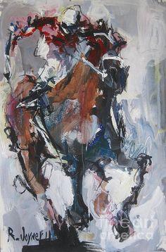 Abstract horse/jockey painting