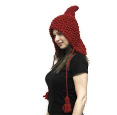 Winter Hat, Red Elf Hat, Pointed Wool Hat, ELFICA, Chunky Bulky Wool Elfish Knit Hat, Hood and Shawl by Solandia