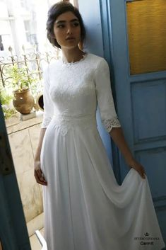 Modest Casual cute Wedding Gown - I would like this if I were ever to get Marrie. - Modest Casual cute Wedding Gown – I would like this if I were ever to get Married – but I'd wear it even now to visit my Lord & God in the Holy Eucharist at Church. Modest Wedding Gowns, Western Wedding Dresses, Wedding Dresses Plus Size, Dream Wedding Dresses, Designer Wedding Dresses, Bridal Dresses, Gown Wedding, Boho Lace Wedding Dress, Buy Wedding Dress Online