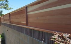Wall Topper - Horizontal Redwood tongue and groove. Modern Wall Extension.