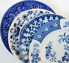 Mismatch China Cake Bread Dessert Plates Blue Floral Rose Vintage Asian Bird #RoyalStaffordshire