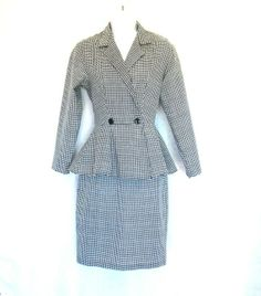 Vintage Houndstooth Suit with Flared Jacket by Seneca