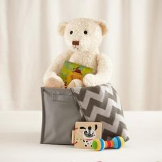 Baby Gift Set (Grey) - baby gift set includes a range of infant-safe goodies that will grow with the new arrival.