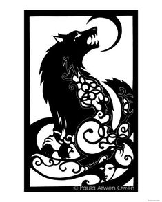 Norse Mythology ART PRINT Fenris Wolf Viking Art Cut Paper Silhouette