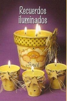 souvenir de comunion - Buscar con Google Baby Dedication, Ideas Para Fiestas, Clay Pots, Easter Crafts, Candle Jars, Decoupage, Google, Diy Crafts, Party