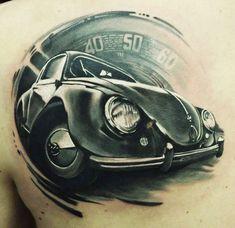 Realistic black and gray tattoo of Cars by artist U Gene Vw Tattoo, Tattoo Foto, Car Tattoos, Bild Tattoos, Body Art Tattoos, Tattoos For Guys, Gray Tattoo, Volkswagen, Art Deco Car