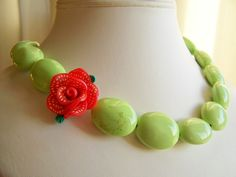 Granny Smith Apple Green Statement Necklace with by polishedtwo