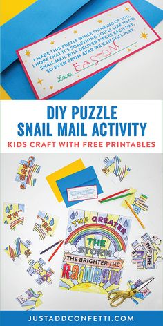 This DIY Puzzle Snail Mail Activity is a cute kids craft and a fun way to connect, play, and interact with grandparents, friends, and family from a distance. This activity is so easy to create too. It's as simple as print, color, cut and mail! Download the free printables and get started! Since we are all spending so much time as home these days I really hope this is a fun at-home kids activity that you will find fun and useful!