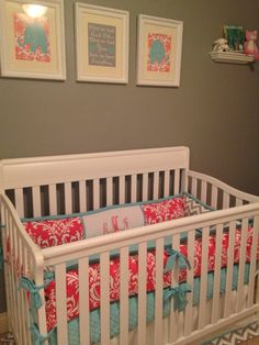Project Nursery - Custom Coral, Tiffany Blue and Gray Crib Bedding. I just love the colors!