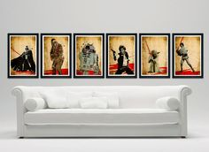 "Star Wars Series Poster Set  12""x18""  Darth Vader, Chewbacca,Yoda, R2D2, Han Solo, Luke Skywalker on Etsy, $60.00"