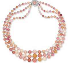A three strand conch pearl and diamond necklace.  Estimate $388,846 - $648,077.  Christie's Magnificent Jewel Auction, May 2014.  HK.