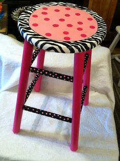 Funky Hand Painted Wood Bar Stool Whimsical Bright Design Zebra Print