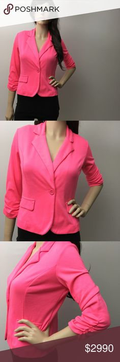 Hot Pink Blazer 💕 So pretty! Has pilling otherwise great condition. 💗 Charlotte Russe Jackets & Coats Blazers