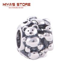925 sterling silver bear charms pendant fits bracelets beads & making guranteed fine t001