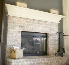 Whitewashed brick fireplace... Instead of stacked stone? Would look nice with built ins...