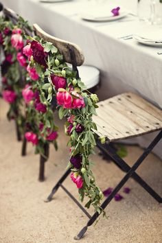 This pink floral garland looks gorgeous on those rustic wooden wedding chairs. This is such a perfect way to dress up your beach wedding chairs - love it! Spring Wedding, Garden Wedding, Wedding Blog, Dream Wedding, Wedding Ideas, Rustic Wedding, Woodland Wedding, Wedding Photos, Handmade Wedding