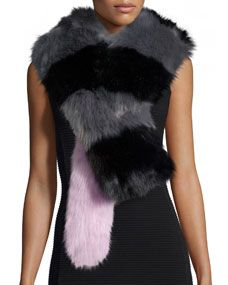 Charlotte Simone Big Daddy Faux-Fur Scarf, Gray/Black/Pink