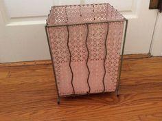 Pink retro 60s metal trash can