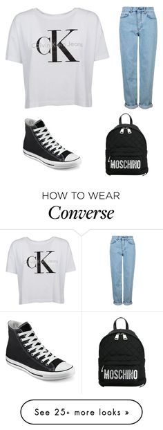 """""""❤️ #myfirst#moschino#calvinklein#boyfriendjeans#converse"""" by zuzkakroupov on Polyvore featuring Topshop, Converse and Moschino"""