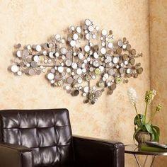 SEI Oblishen Mirrored Metal Wall Sculpture; Antique Silver - Sears