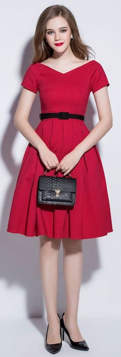 Red Belted V Neck Pleated Dress