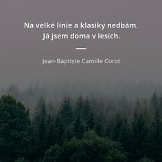 Na velké linie a klasiky nedbám. Já jsem doma v lesích. - Jean-Baptiste Camille Corot