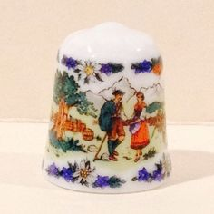"Lilien Porcelain ""Country Folk"" Thimble with 3 Scenes Austria 1992 TCC #60"