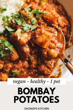 1 Pot Vegan Bombay Potatoes minutes} - Okonomi Kitchen This easy Vegan Bombay Potatoes recipe is made with hearty ingredients like potatoes and chickpeas. Made in just 30 minutes but still packed with so much incredible flavours! Rice Recipes For Dinner, Veggie Recipes, Indian Food Recipes, Whole Food Recipes, Cooking Recipes, Healthy Recipes, Vegan Recipes With Potatoes, Vegan Recipes Asian, Easy Veggie Meals