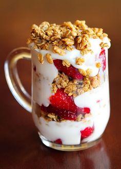 Fat free plain yogurt + fruit + oatmeal = Great, healthy, on-the-go breakfast!