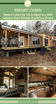 Smart Cabin by Lil Lodges is a 400 Square Foot Dream Vacation Home Tiny House Big Living, Small Tiny House, Modern Tiny House, Tiny House Design, Small House Plans, Small Homes, Tiny House Company, Tiny House Listings, Tiny Houses For Rent