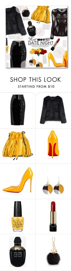"""""""HotHotHot"""" by jckallan ❤ liked on Polyvore featuring Topshop Unique, Chicwish, STELLA McCARTNEY, Christian Louboutin, Jaeger, OPI, Lancôme, Alexander McQueen, Furla and DateNight"""