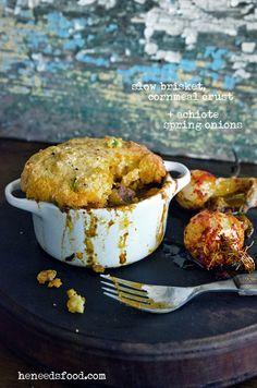 Slow brisket, Cornmeal Crust +   Achiote Spring Onions, via John Bek @heneedsfood #recipe #centralamerican #mexican