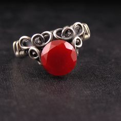 Lalande - Wire Wrapped Sterling Silver Ring with Carnelian by Anna Rei