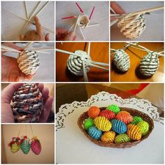 Easter+is+coming! Are+you+still+thinking+what+to+make+for+Easter+decorations?+Here+is+a+super+cute+idea+to+make+some+woven+paper+Easter+eggs. You+can+use+any+paper+you+like,+but+old+newspaper+is+preferable+because+it's+a+better… Easter Egg Basket, Easter Eggs, Easter Table, Crafts To Sell, Diy And Crafts, Diy Nagellack, Papier Diy, Easter Egg Crafts, Easter Decor