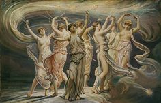 1. Maia, eldest of the seven Pleiades, was mother of Hermes by Zeus. 2. Electra was mother of Dardanus and Iasion, by Zeus. 3. Taygete was mother of Lacedaemon, also by Zeus. 4. Alcyone was mother of Hyrieus, Hyperenor and Aethusa by Poseidon. 5. Celaeno was mother of Lycus and Eurypylus by Poseidon. 6. Sterope (also Asterope) was mother of Oenomaus by Ares. 7. Merope, youngest of the seven Pleiades, was wooed by Orion.
