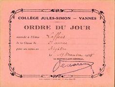 Ordre du Jour - Collège Jules-Simon, Vannes - 1935 (from http://souvenirsdecole.com/picture?/2 Éditeur Mizeret, Rinqueberck et Rouvière, Paris