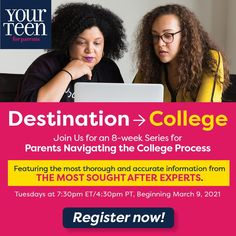College admissions are changing, but we're here to help. Your Teen Media is offering families all the info they need, delivered by experts who understand the system. Don't miss our 8-week virtual forum every Tues starting Mar 9, 2021. More than a dozen experts will be on hand to provide information and answer your questions. Enter your name and email to access this Zoom forum, just $49 for the whole series. #destinationcollege yourteenmag #collegeadmissions #collegeprep #collegescholarships Raising Teenagers, Parenting Teenagers, Parenting Advice, The Essential Life, College Search, Activities For Teens, Interview Preparation, College Organization, Kids Growing Up