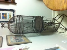 Got this at estate auction. Cool old wrought iron bird cage almost 5' tall. What color should I paint it or should I leave it as is?  I might get a bird!