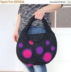 ACTION feutrée sac à main - sac gris foncé avec roses violet bulles du sac à main - cabas - femme