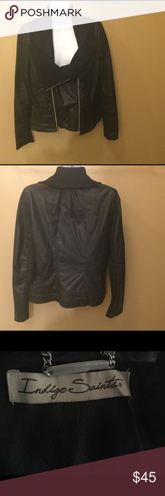 Women's large casual black leather jacket Indigo This Indigo Saints casual faux leather jacket is in excellent condition.  No rips, tears, stains, or discoloration and comes from a smoke free home. Please feel free to contact me with any questions.  Thank you Jackets & Coats