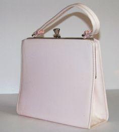 1950 1960 Light Pink Purse with Silver Trim handbag by SanMonet, $35.00